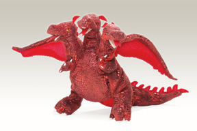 Red Three-Headed Dragon Puppet