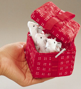 Mice In Red Box Finger Puppets