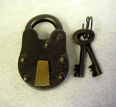 Antique Style Metal Lock and Key -- 3""