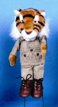 Tiger in Safari Outfit Hand Puppet